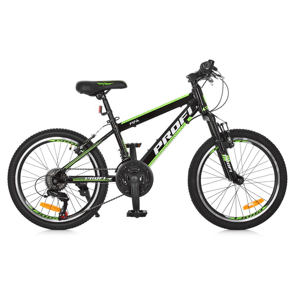 Спортивный велосипед колеса 20 дюймов PROFI G20FIFA A20.2 черно-зеленый