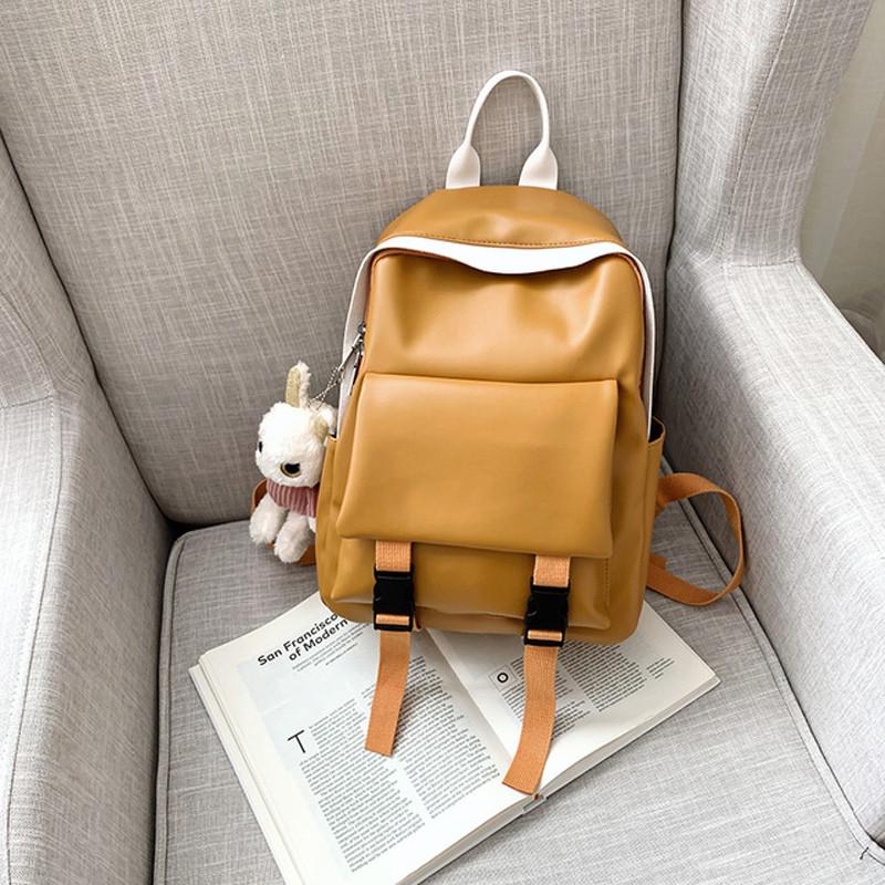 Рюкзак кожаный женский с брелком мишка рыжий Ginva.