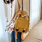 Рюкзак кожаный женский с брелком мишка рыжий Ginva., фото 4