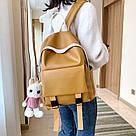 Рюкзак кожаный женский с брелком мишка рыжий Ginva., фото 3