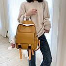 Рюкзак кожаный женский с брелком мишка рыжий Ginva., фото 5