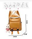 Рюкзак кожаный женский с брелком мишка рыжий Ginva., фото 2