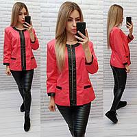 Жакет  /пиджак  ветровка больших размеров на подкладе , модель S1096 коралл / алый цвет
