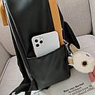 Рюкзак кожаный женский с брелком мишка черный Ginva., фото 8
