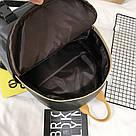 Рюкзак кожаный женский с брелком мишка черный Ginva., фото 5