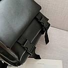 Рюкзак кожаный женский с брелком мишка черный Ginva., фото 10