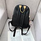 Рюкзак кожаный женский с брелком мишка черный Ginva., фото 2
