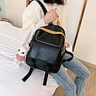 Рюкзак кожаный женский с брелком мишка черный Ginva., фото 9