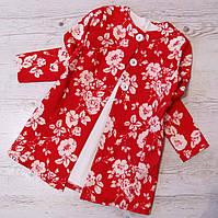 Р.128-152 Детское платье + кардиган цветочный принт, фото 1