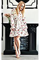 Платье с V-образным вырезом  белого цвета оптом от производителя