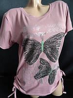 Женская фуболка со стразами и рисунком , фото 1