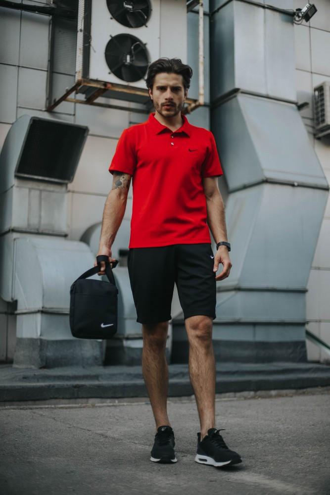 Мужской летний костюм Nike + барсетка в подарок 20944 красный