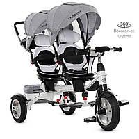 Велосипед трехколесный для двоих детей с родительской ручкой TURBOTRIKE DUOS M 3116TWA-19