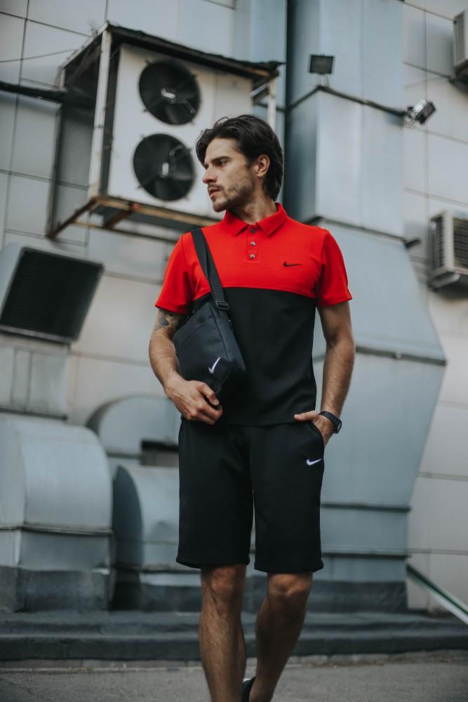 Мужской летний костюм Nike + барсетка в подарок 20961 красно-черный
