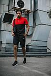Мужской летний костюм Nike + барсетка в подарок 20961 красно-черный, фото 2
