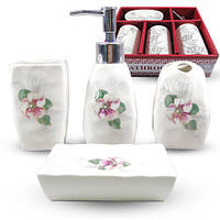 Набор аксессуаров для ванной комнаты 4 предмета Цветочный барельеф Snt 888-130
