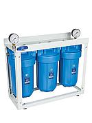 """Система корпусів для холодної води Big Blue 10"""" потрійна AquaFilter HHBB10B 1"""" на рамі"""
