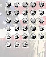 """Комплект листов с разделителями для монет США квотеры """"Штаты и территории"""" по МД (D, P, S)"""