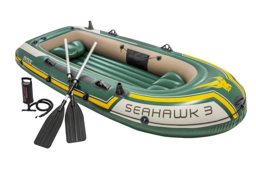 Лодка надувная Intex 68380 трехместная с насосом и веслами