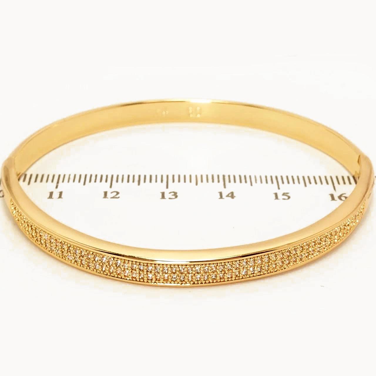 Браслет 5мм диаметр 6см xuping позолота 18К цирконий 2326