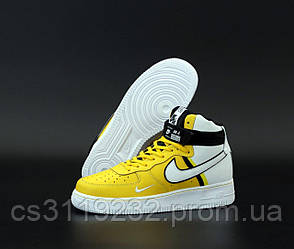 Мужские кроссовки Nike Air Force 1 High Yellow White (желтые)