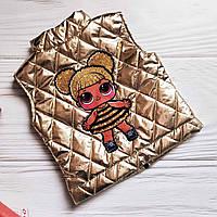 Шикарная золотая жилетка с LOL для девочки 104-110р