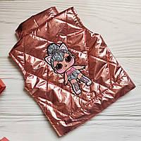 Шикарная серебристая жилетка с LOL для девочки 116-122р