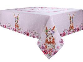 Скатерть гобеленовая Кролик 180х140 см розовая