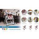 Високий дитячий стільчик для годування TILLY Bistro Rose, фото 2