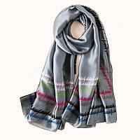 Женский шарфик серый шелковый стильный