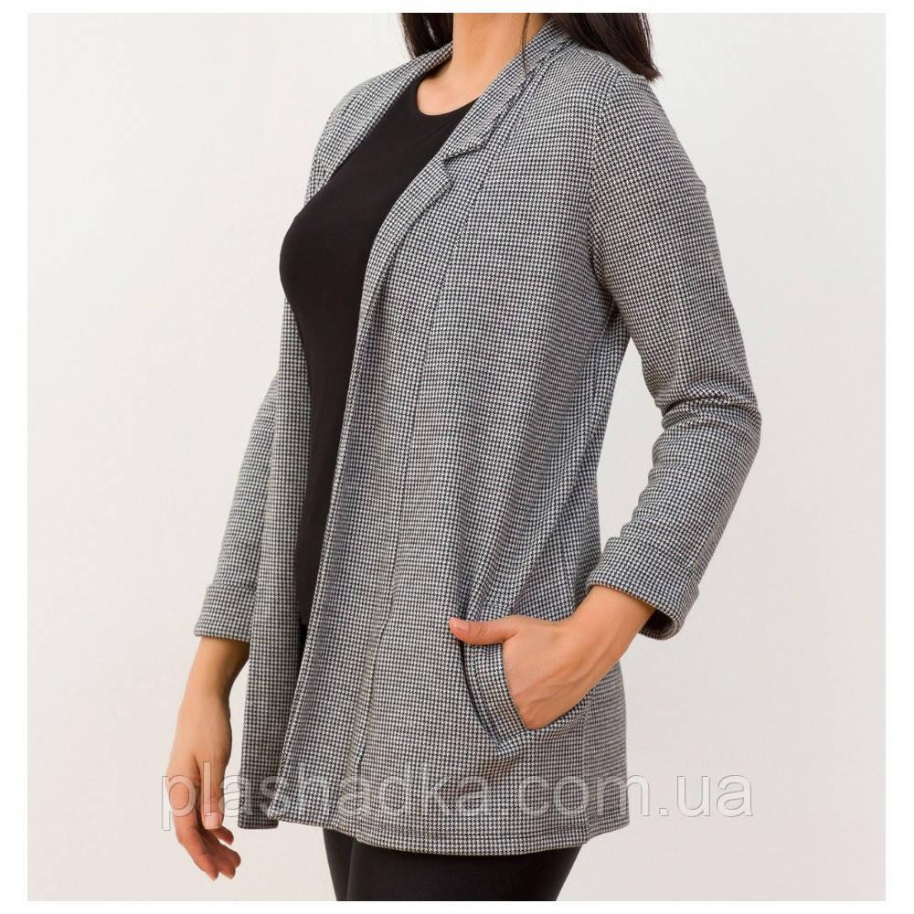 Модный пиджак женский в клетку удлиненный. серый (Турция)
