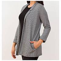 Модный пиджак женский в клетку удлиненный. серый (Турция), фото 1