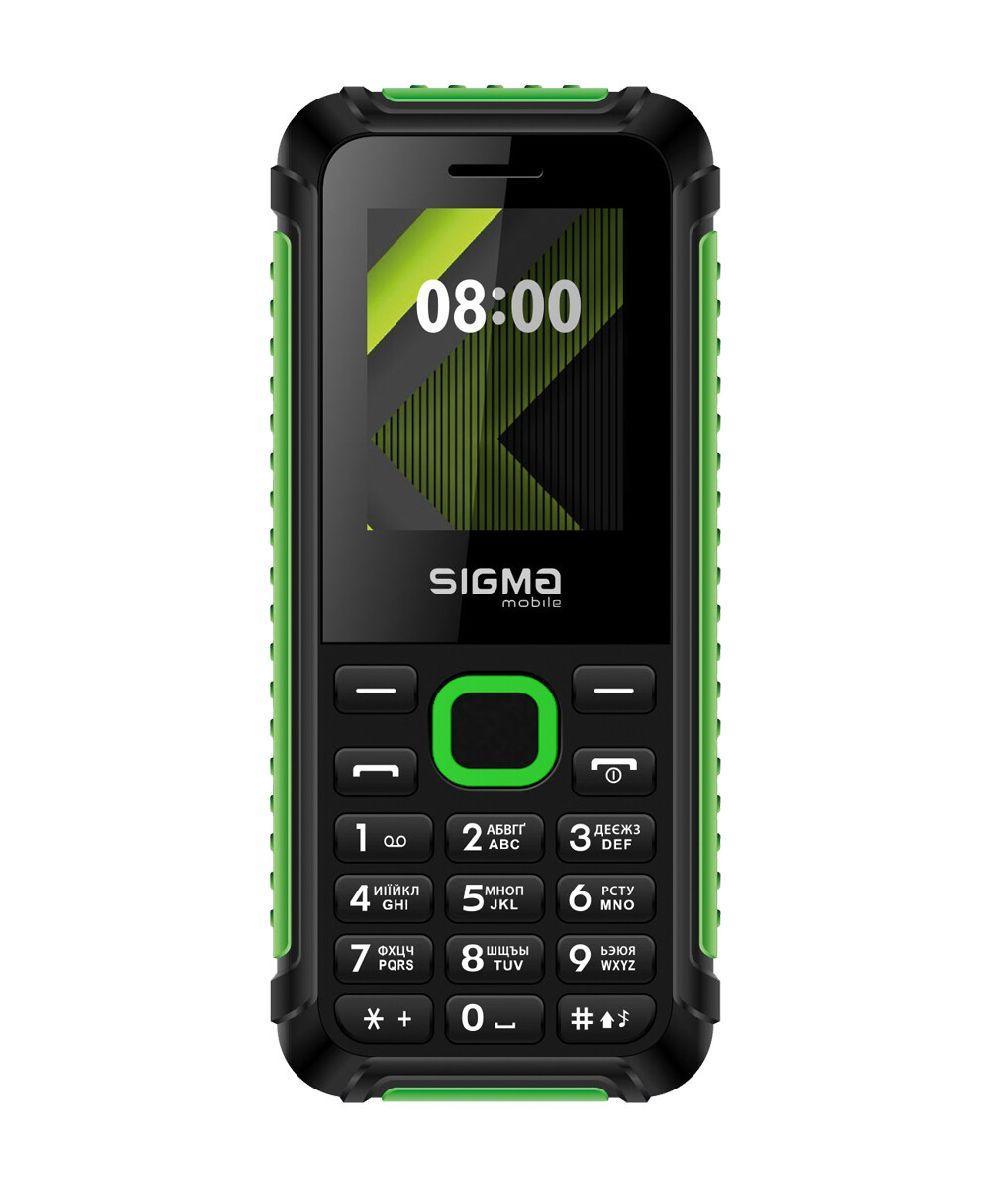 Телефон кнопочный с громким динамиком и ребристыми гранями Sigma X-Style 18 Track черно-зеленый