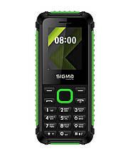 Телефон с громким динамиком кнопочный с ребристыми гранями Sigma X-Style 18 Track черно-зеленый
