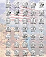 """Комплект листов с разделителями для монет США квотеры """"Национальные Парки"""" по МД (D, P, S)"""