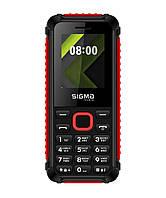 Телефон кнопочный с громким динамиком и ребристыми гранями Sigma X-Style 18 Track черно-красный