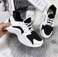 Кроссовки черно-белые с перфорацией,женские р.35,36,37