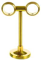 Кронштейн держатель для трубчатого карниза ,потолочный,на две трубы, диаметр 20мм, материал латунь глянцевая