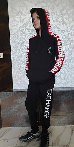 Модная черная кофта-кенгуру с капюшоном на мальчиков 152,158,164,170,176 роста Enkore весна, фото 2