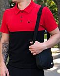 Мужская футболка поло Nike 20966 красно-черная, фото 2