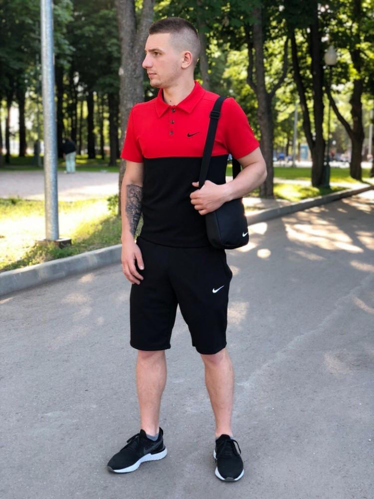 Мужская футболка поло Nike 20966 красно-черная
