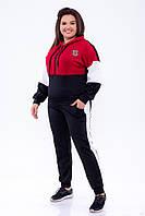 Спортивний костюм жіночий великих розмірів з дайвінгу зі вставками і капюшоном р. 48-58. Арт-1858/3