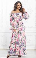 Платье макси с цветочным принтом до 54 размера, фото 1