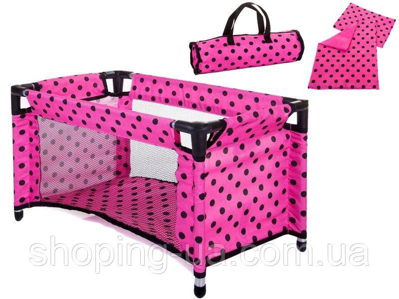 Кроватка Doris розовая в черные горошки 9381 pink
