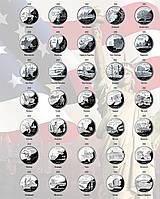 """Комплект листов для квотеров США """"Штаты и территории"""",""""Национальные Парки"""""""