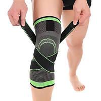 Наколенник эластичный для бега и занятий спортом AB023 с бандажными ремнями салатовый