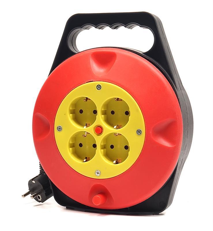 Удлинитель на катушке PowerPlant JY-2002/10 (PPRA10M100S4) 4 розетки, 10 м, черно-красный