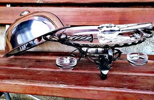 Кованый садж для подачи шашлыков с крышкой и соусниками, 32см, фото 2