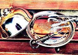"""Кованый садж для подачи шашлыков с крышкой и соусниками """"Классик"""" - оригинальный подарок мужчине, 32см, фото 3"""