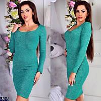 Женское осенне весеннее зимнее нарядное платье ангора люрекс размер 46-48 цвет ментол